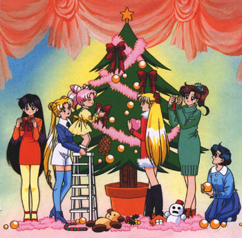 Chibi-Usa puts the bow on the tree.